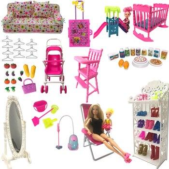 NK микс Стиль Кукла мебель играть игрушка стул обувной шкаф зеркало слайд для куклы Барби аксессуары Келли 1:12 куклы DIY игрушки JJ