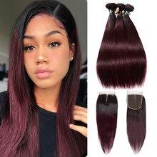 SEXAY 99J-mechones de pelo humano Remy precoloreado extensiones de pelo ondulado mechones con cierre ombré, 4 unidades, Borgoña