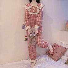 Женский пижамный комплект в клетку с бантом вышивкой оборками