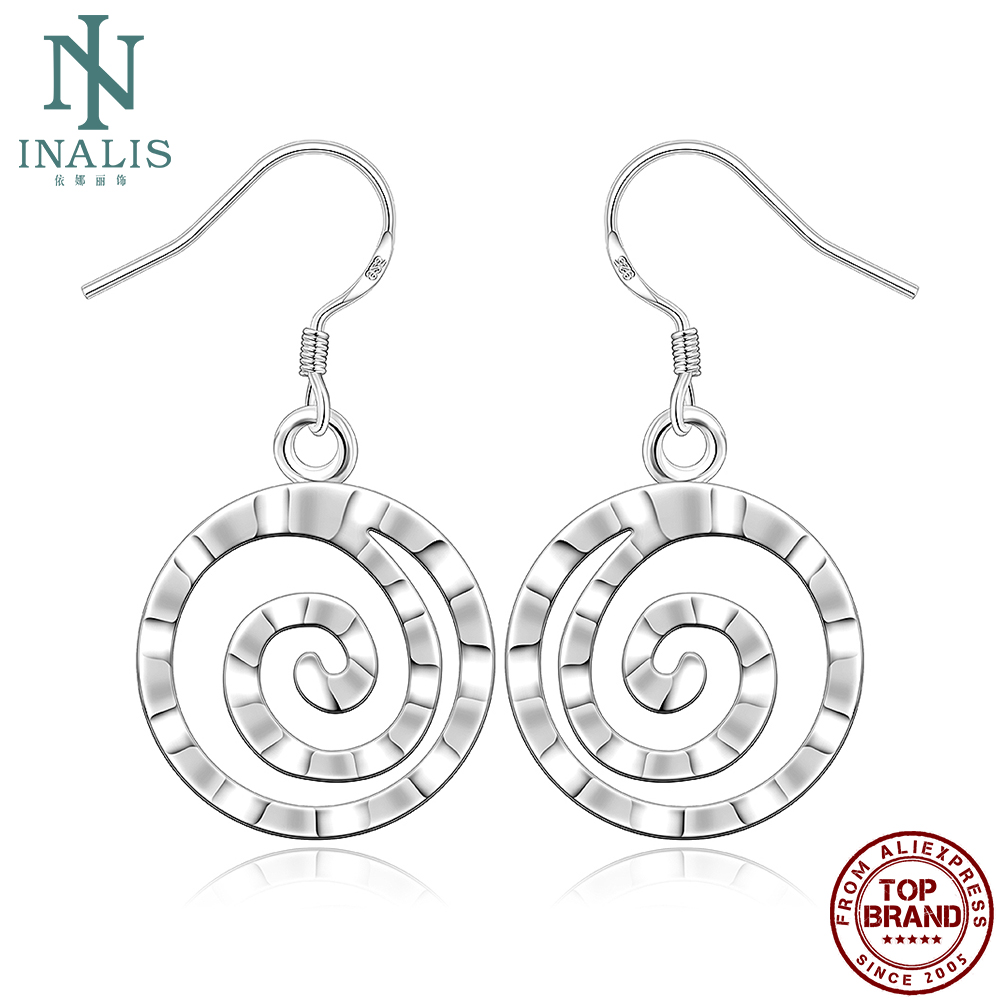 INALIS Fashion Silver Plated Drop Earrings Round Ladies Earrings Romantic Anniversary Gift The New Listing Jewelry 2021