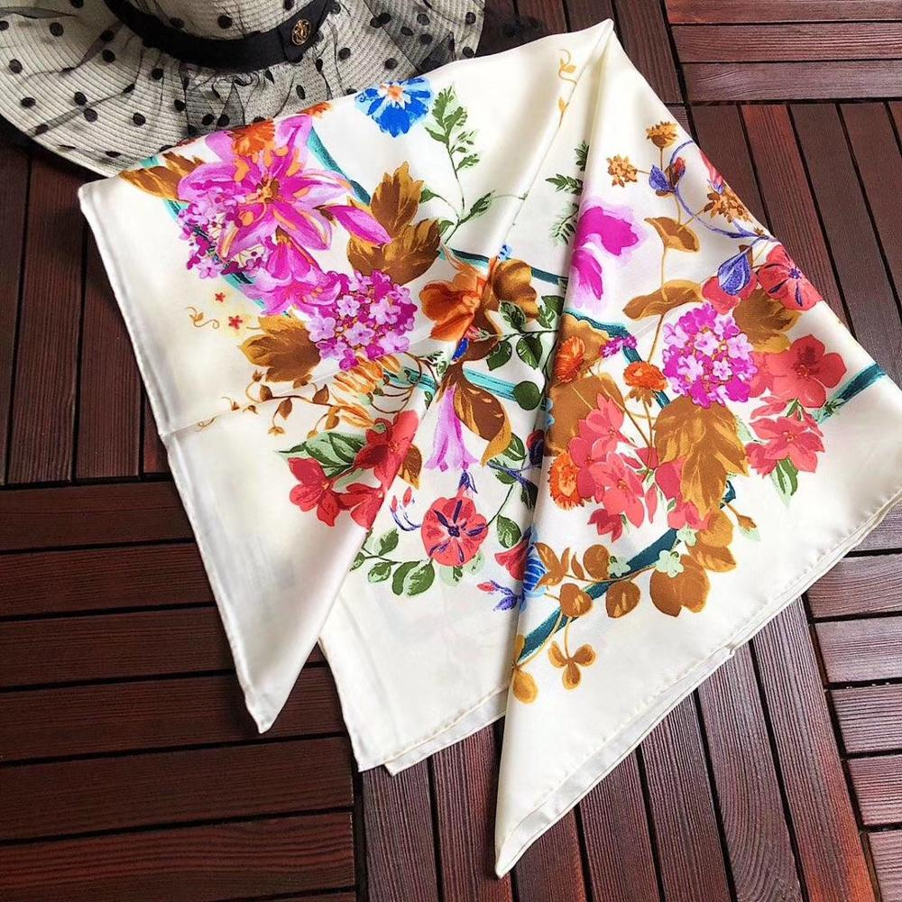 2020 new arrival spring classic flower pattern 100% pure <font><b>silk</b></font> <font><b>scarf</b></font> twill hand made roll <font><b>90</b></font><font><b>*</b></font><font><b>90</b></font> cm shawl wrap for women lady image