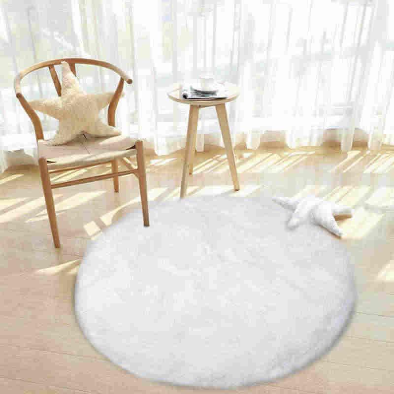 라운드 소프트 가짜 양모 모피 지역 러그 침실 거실 바닥 얽히고 설킨 실크 플러시 카펫 화이트 가짜 모피 깔개 베드 사이드 러그