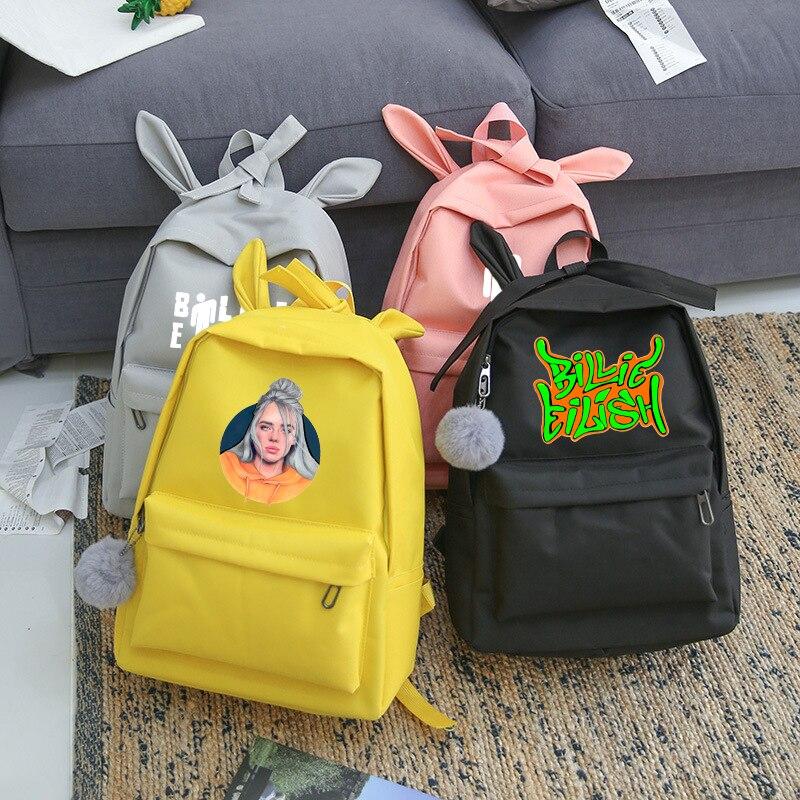 Sac A Dos Femme Billie Eilish Girls School Backpack Bag Women College Bookbag Travel Shoulder Canvas Teenagers Bag Pack Female