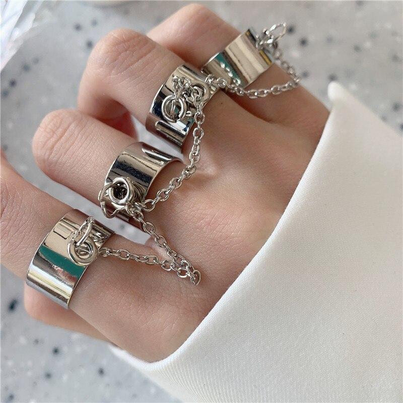 Многослойная Регулируемая цепочка в стиле панк, открытое металлическое кольцо с четырьмя пальцами, НОВАЯ ЦЕПОЧКА, кольцо с кисточкой, аксес...