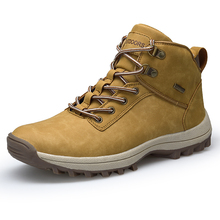 Mens Boots Autumn Winter Leather Fashion Sneakers Lace Up Outdoor Mountain Men Shoes Waterproof Big Size 39-46