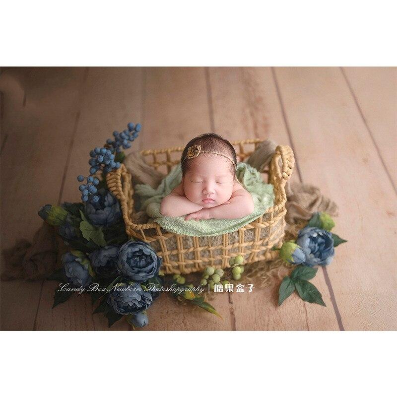 New Newborn Photo Props Woven Baby Basket Photo Studio Photo Auxiliary Props Baby Photo Basin Frame Shooting Platform