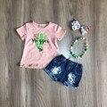 Летняя одежда для маленьких девочек; Розовый топ с принтом кактуса для девочек; Джинсовые шорты; Одежда для девочек с аксессуарами