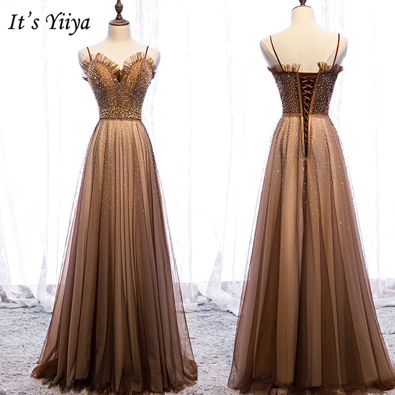 It's Yiiya   Evening     Dress   2019 Sleeveless Lace Up A-Line Floor Length   Dresses   Elegant Crystal Party Formal   Dresses   Plus Size E971