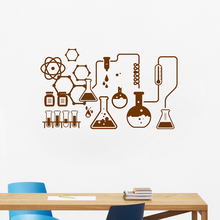 Science Chemical Lab Vinyl Wall Stickers Art Decor  Scientist Chemistry Wall Decals For School Laboratory Wall Decoration LW568 chemistry lab clamp ptfe teflon laboratory tweezers 150mm clip lab chemistry forceps