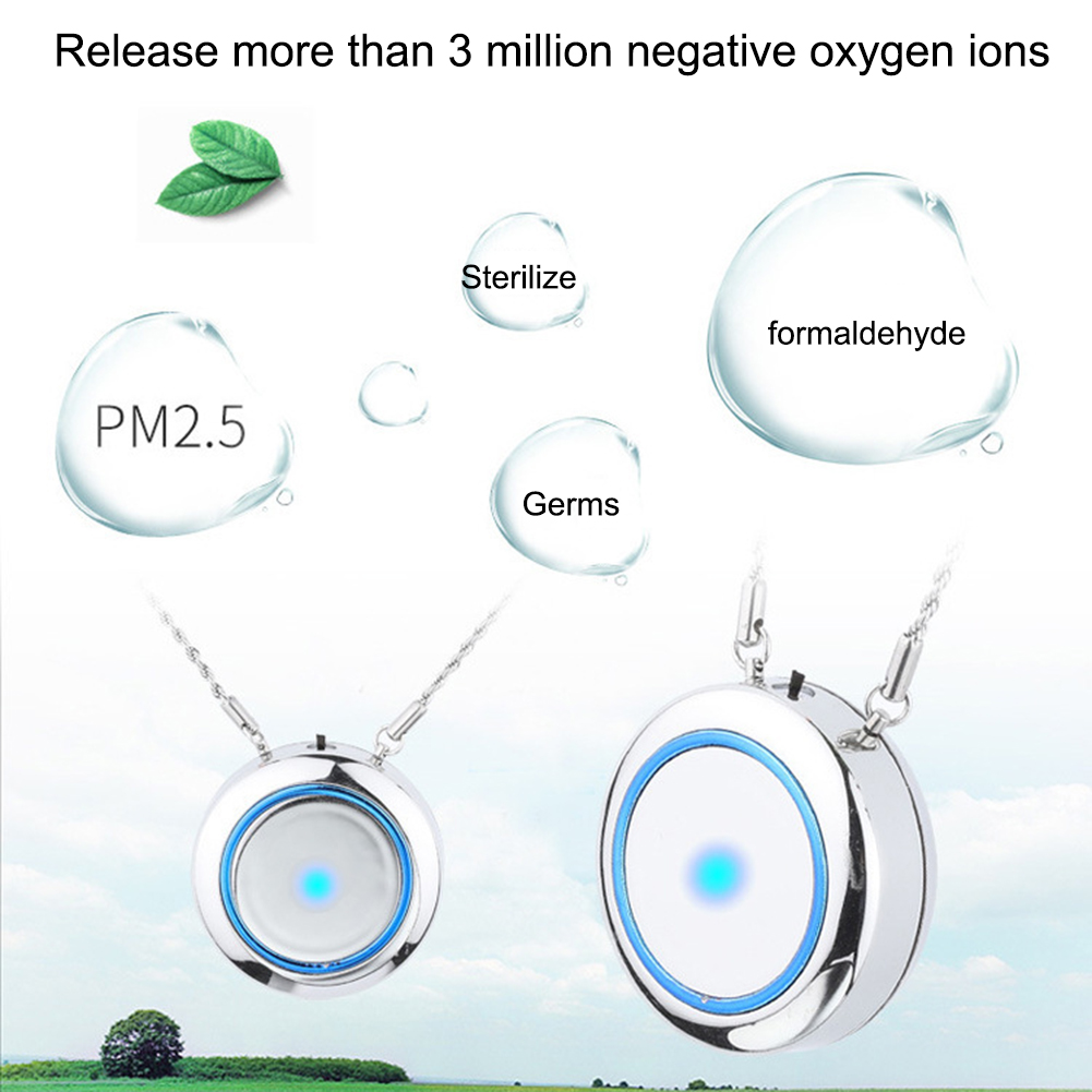 Wearable Air Purifier Necklace Mini Portable Air Freshner Ionizer Negative Ion Generator Low Noise For Adults/Kids Daily Use