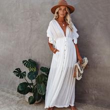 Seksowne Bikini Cover-Up długi biały tunika Casual letnia sukienka plażowa eleganckie kobiety Plus rozmiar odzież plażowa narzuta na strój kąpielowy Q1208 tanie tanio EDOLYNSA Poliester CN (pochodzenie) Stałe Młody styl Czeski Osób w wieku 18-35 lat Pasuje większy niż zwykle proszę sprawdzić ten sklep jest dobór informacji
