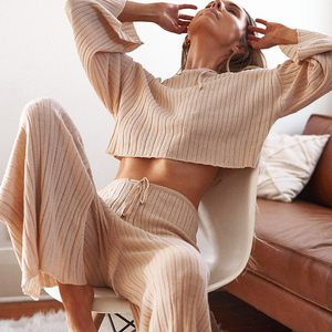Women Solid Knitted Tracksuit Two-piece Loose Set Long Sleeve Short Hoodies Top And Elastic Waist Wide Leg Pants Thin Streetwear