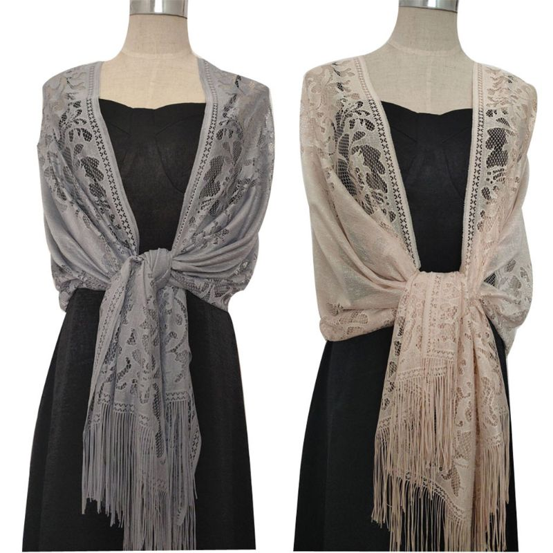 185x63cm Womens 1920s Scarf Wraps Hollow Out Crochet Floral Lace Fringed Tassels Wedding Cape Evening Party Vintage Shawl 517D