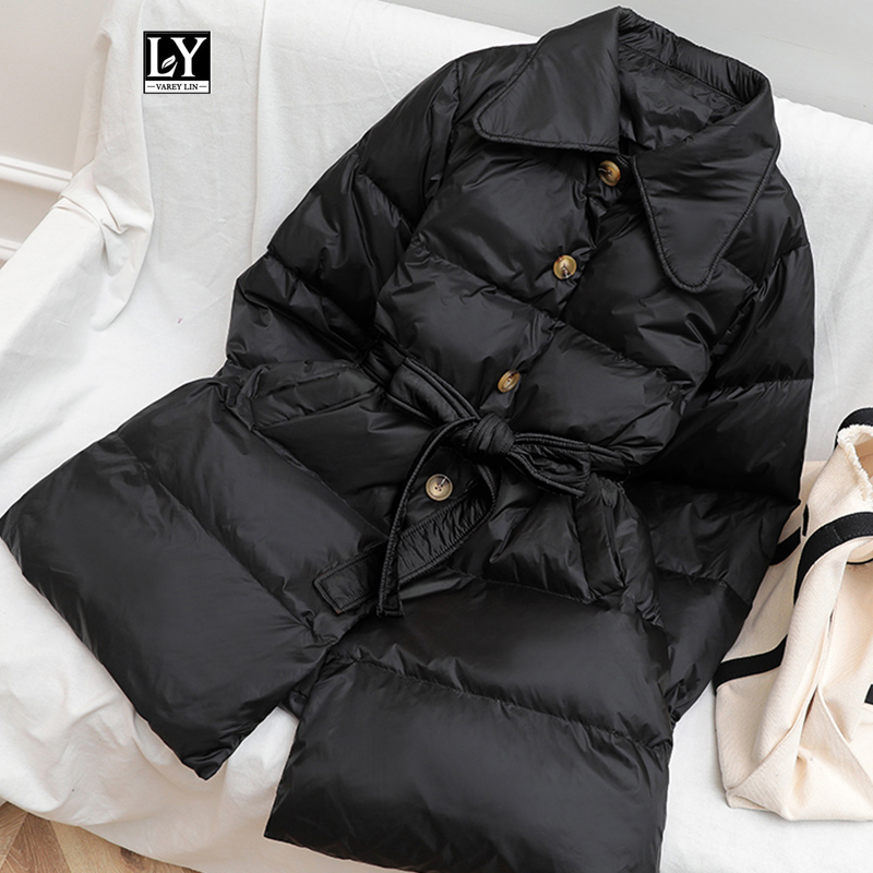 Ly Varey Lin Winter Loose Down Jacket Women Single Breasted Sash Tie Up White Duck Down Parka Female Thick Warm Bread Overcoat