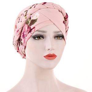 Print Turban Hat 2020 New Inner Hijab Caps for Women Muslim Stretch Hijabs Hat Islamic Under Scarf Head Wrap Cap turbante mujer