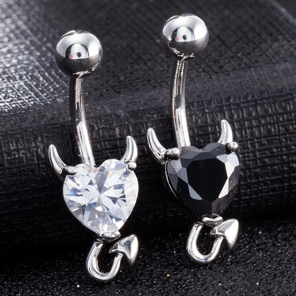Little Devil Navel Belly Button Ring with Red CZ Heart Free Shipping