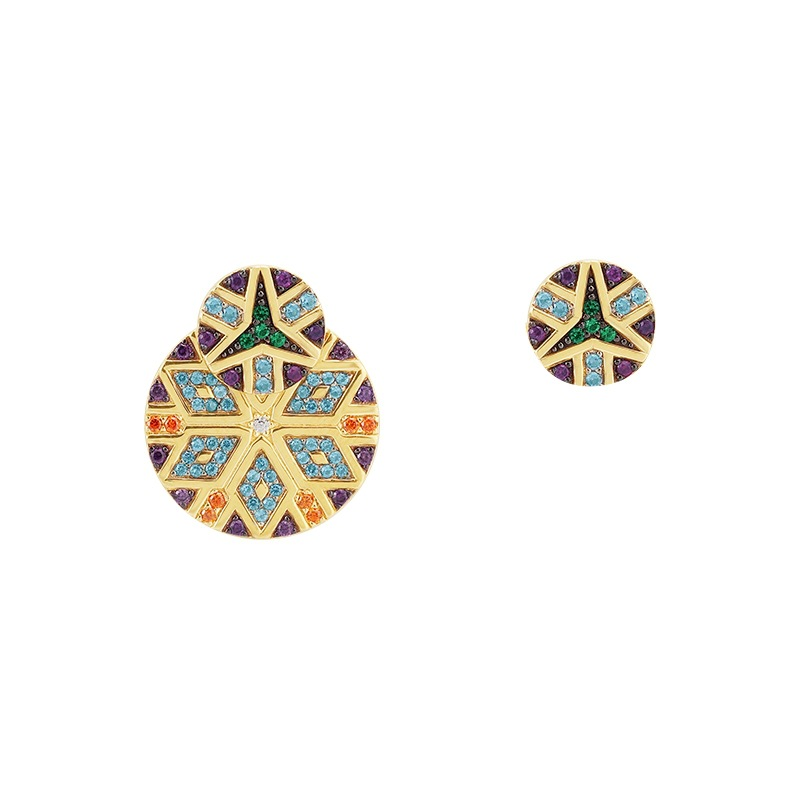 S925 pure silver high end micro inlay asymmetric colorful Round Earrings female EarringsStud Earrings
