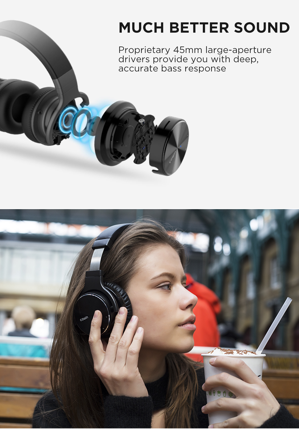 Cowin E7PRO[Upgraded] Bluetooth Headphones Active Noise Cancelling Headphones Wireless Deep Bass ANC Earphone with Mic for phone