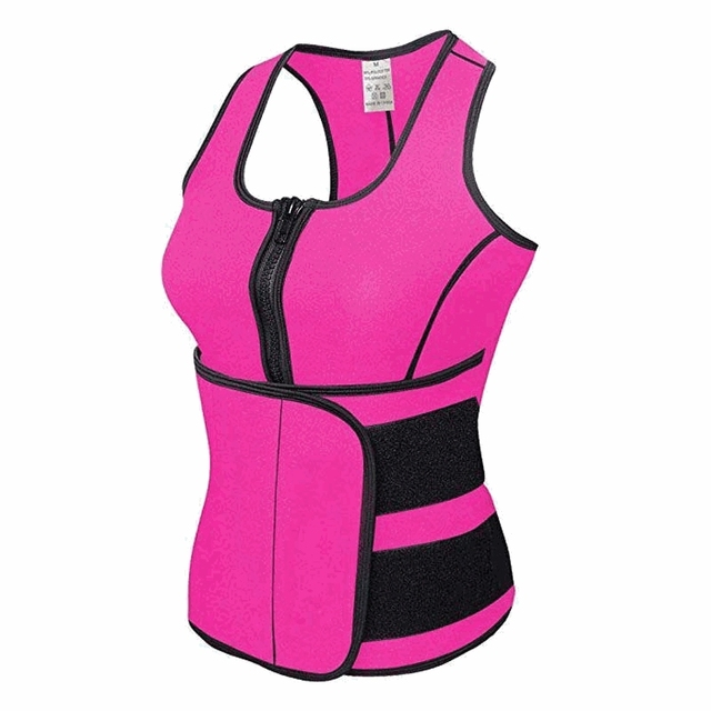 New Women Trainer Waist Belts Vest Gym Adjustable Slimming Sweat Belt Workout Zipper Body Shaper Sexy Workout Sports Wear Vest 2