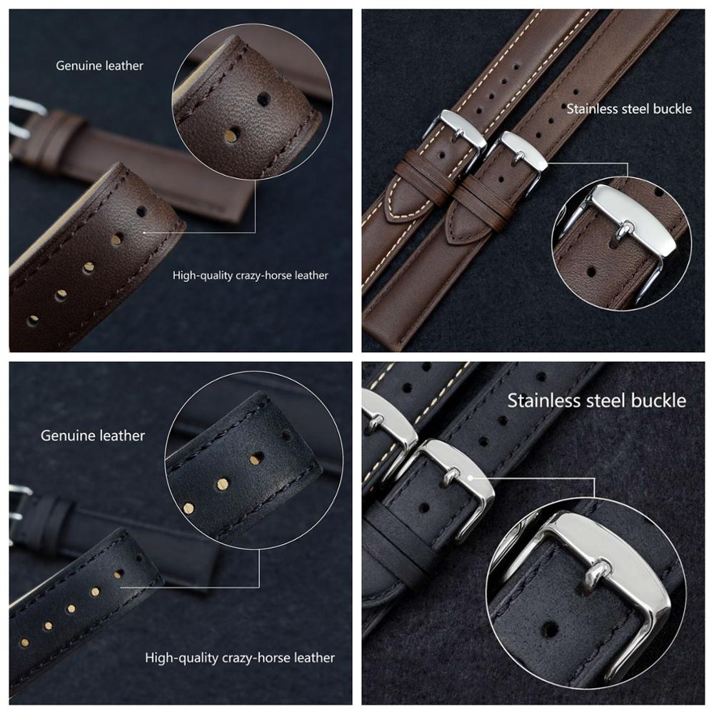 Image 5 - WOCCI 24mm Brown Genuine Leather Watch Strap 14mm 16mm 18mm 19mm 20mm 21mm 22mm Women Men Replacement Watch Bands Crazy Horse-in Watchbands from Watches