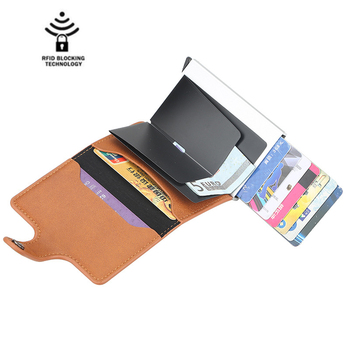 Rfid Anti-magnetic Card Holders Smart Wallets Men PU Leather Purse Vintage 2
