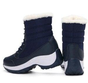 Image 2 - Женские ботинки, зимние водонепроницаемые ботинки, женская обувь 2019, женские зимние ботинки на платформе, сохраняющие тепло ботильоны, женские ботинки большого размера 41 42