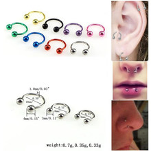 Surgical Stainless Steel Nose Rings Double Ball Circular Barbell Piercing Lip Rings Horseshoe Ring Bone Clip Jewelry(China)