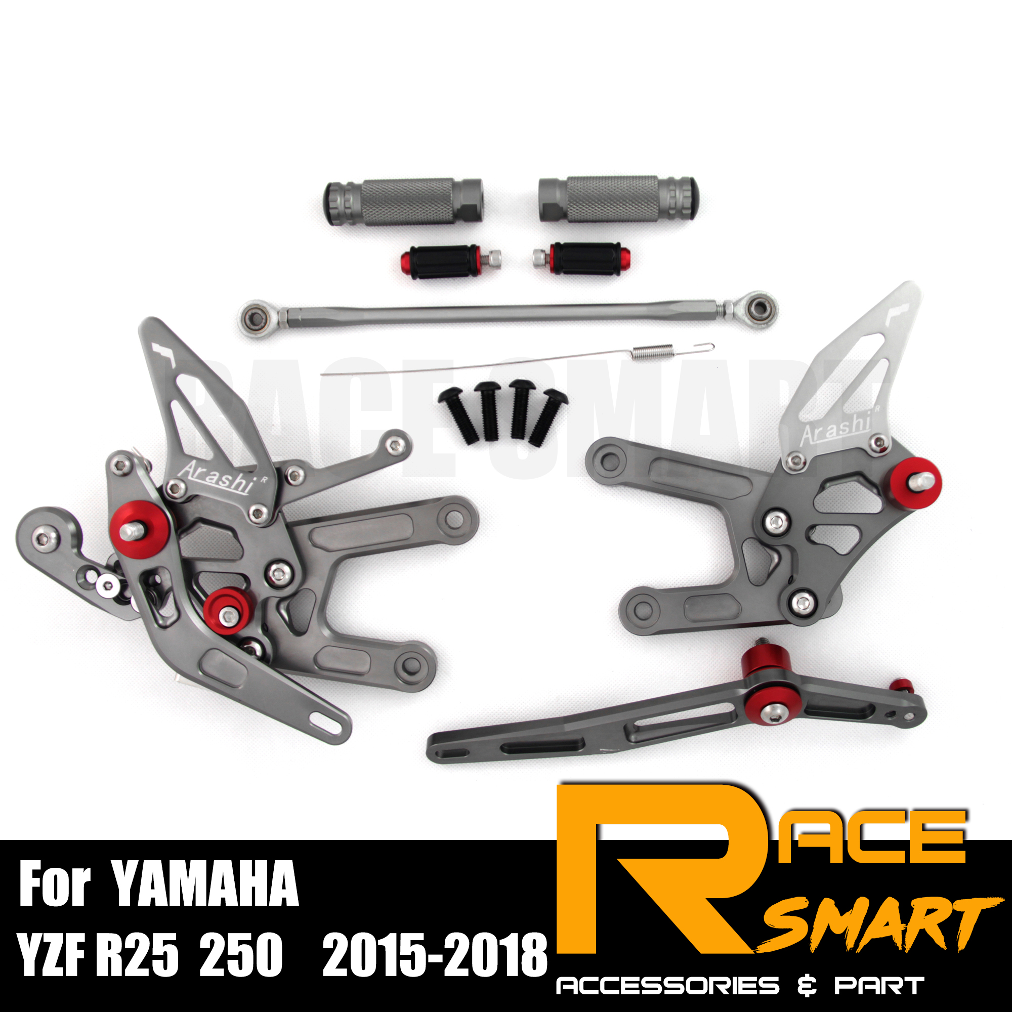For YAMAHA YZF R25 2015 - 2018 250CC CNC Adjustable Rearset Footpegs Footrest Foot Rest Pegs Pedal Motorcycle Accessories 2016