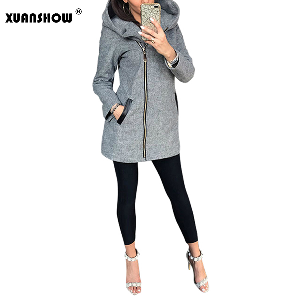 XUANSHOW 2019 Winter Autumn Long Sleeve Hooded Women's Jackets Casual Slim Diagonal Zipper Coat Female Harajuku Ladies Hoodies