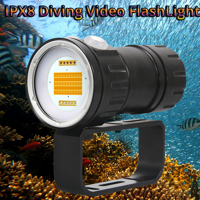 COB Diving Flashlight Video Light  L2 Underwater Photography Spot Light LED Diving Torch 200 Meter IPX8 Waterproof