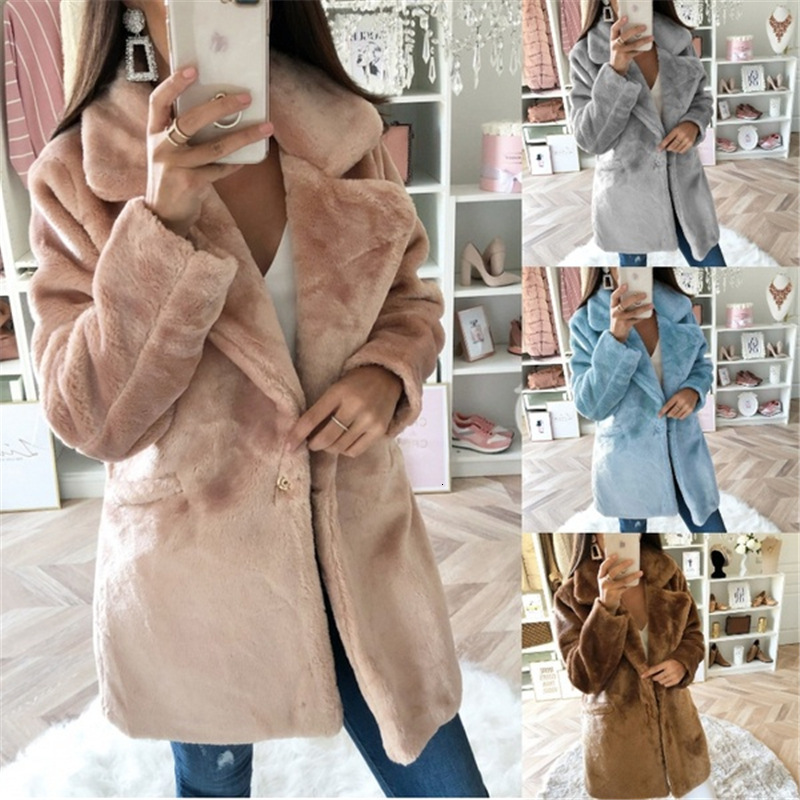 BacklakeGirls Winter Warm Woolen Overcoat Girls Midi Dress Solid Color Lint Leather And Fur Loose Coat For Woman Cocktail Party