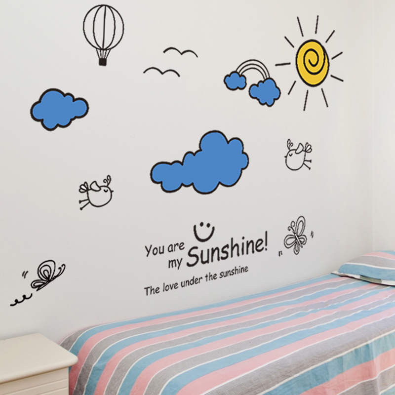 shijuekongjian Sailboat Lighthouse Wall Stickers PVC DIY Cartoon Clouds Sun Wall Decals for Kids Room Baby Bedroom Decoration in Wall Stickers from Home Garden