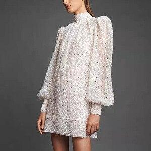 Европейская и американская Горячая Мода, женское платье с рукавами-фонариками, осень 2019, элегантное платье со стоячим воротником B284