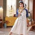 ATUENDO летние корейские кавайные ночные рубашки для женщин Мода Atoff домашняя атласная длинная ночная рубашка 100% хлопок PJS Симпатичные шелковы...