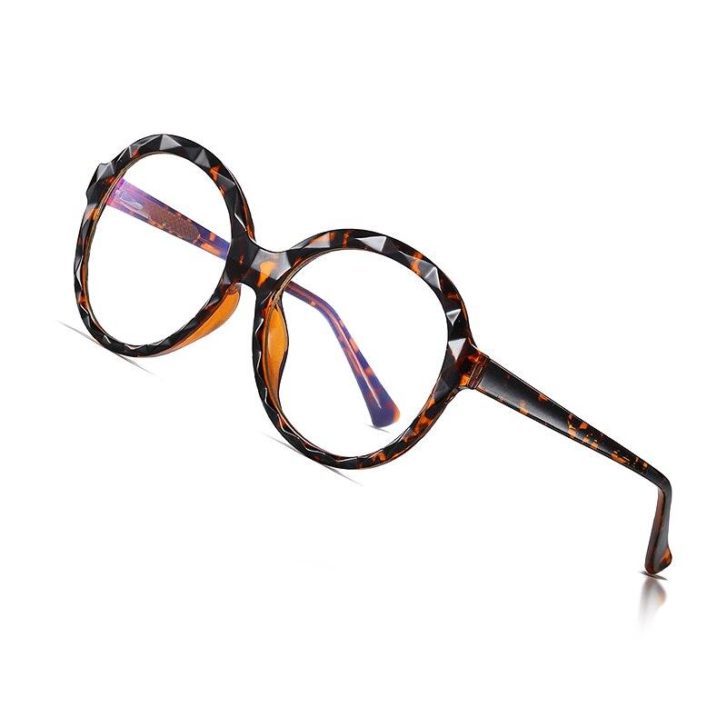 AOFLY Round Blue Light Glasses Women Diamond Cut Frame Optical Glasses Frame Fashion Computer Eyewear Female Myopia Spectacles