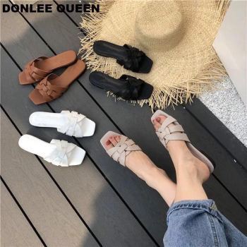 Big Size 41 Women Slippers Casual Open Toe Metal Decoration Flat Slippers Summer Slides Platform Beach Flip Flops sandalias muje