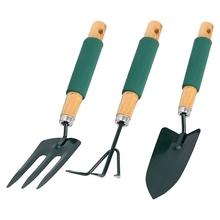 Zestaw narzędzi ogrodowych 3 szt Łopata metalowa zestaw narzędzi ogrodowych z uchwytem gąbkowym drewniany uchwyt do przesadzania i kopania tanie tanio tuosen NONE CN (pochodzenie)