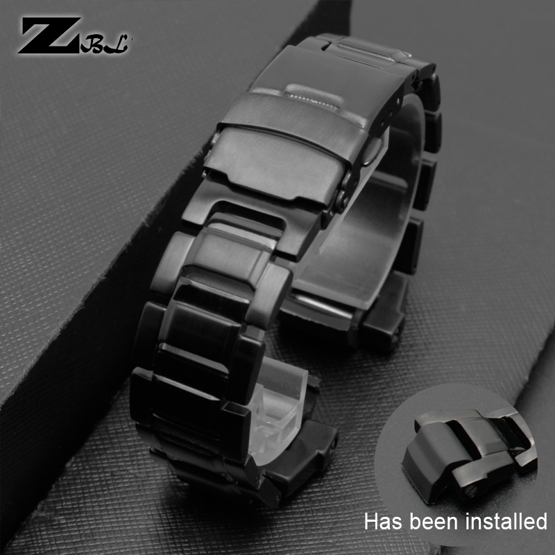 stainless steel watchband black Bracelet band for casio g-shock G-1000/GW-2000/GW-3000B/GW-3500B watch strap solid metal belt image