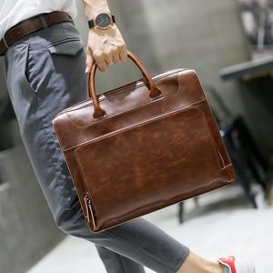 Image 1 - Brand Mens Briefcase Handbag Crazy Horse Pu Leather Messenger Travel Bag Business Men Tote Bags Man Casual Crossbody Briefcases