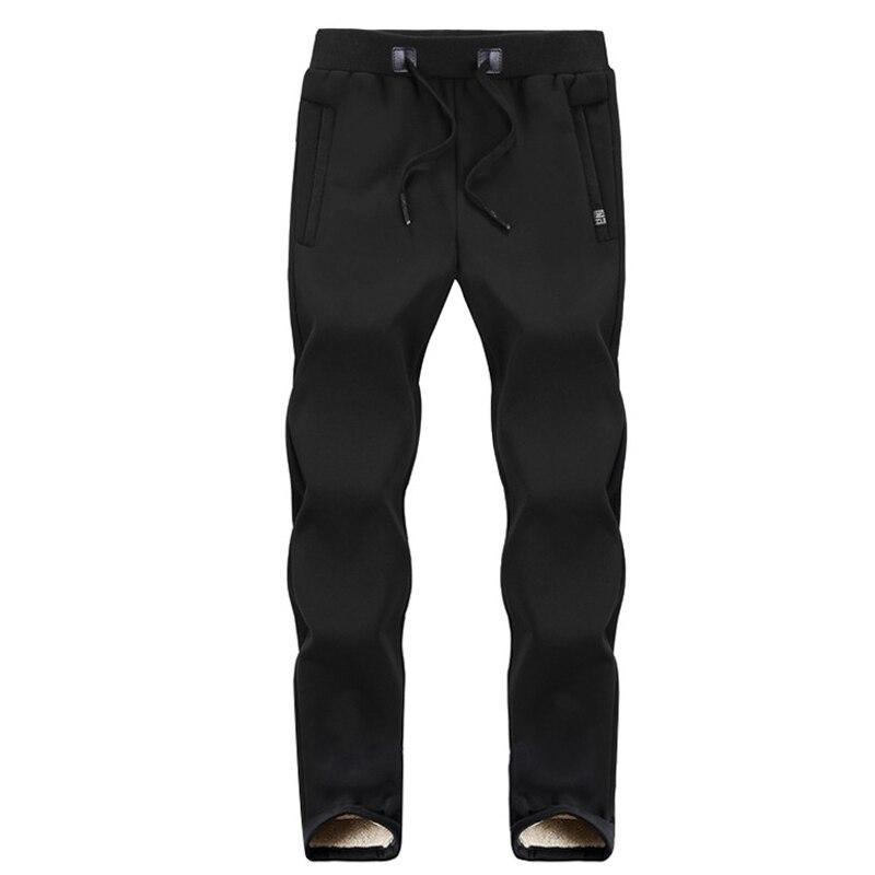 Зимние спортивные штаны для мужчин плюс бархатные теплые толстые теплые штаны из овчины мужские повседневные штаны 8XL 7XL 6XL 5XL - Цвет: Black straight