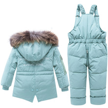 2019 Winter Baby Overalls For Children Thicken Warm Kids Down Jacket Coat Jumpsuit Girls Clothing Set