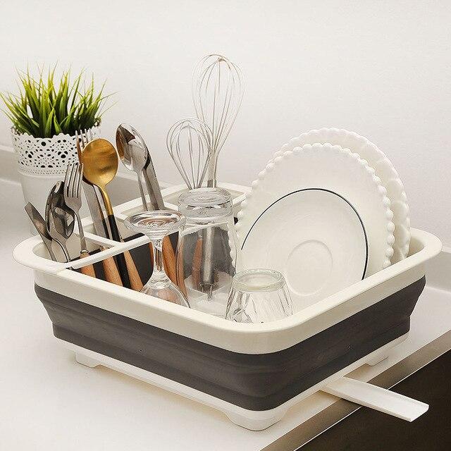 New Camper Car Foldable Dish Rack Tableware Rack Portable Bowl Rack TPR Bowl Sink Design For RV Caravan Boats