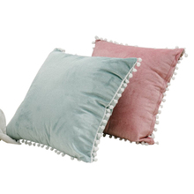 SKTEZO 45*45 Sleek Minimalist Home Short Plush Pillowcase Fashion Hair Ball Design Pillow Case Decorative Free Shipping FF