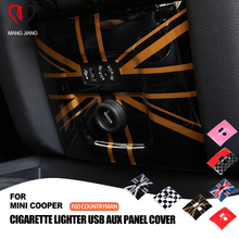 PC Union Jack AUX Cigarette Lighter Trim Cover Case Sticker For mini cooper F60 Countryman Car styling Interior Decoration