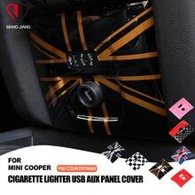 PC Union Jack AUX ไฟแช็กฝาครอบสติกเกอร์สำหรับ mini cooper F60 Countryman รถ จัดแต่งทรงผมตกแต่งภายใน