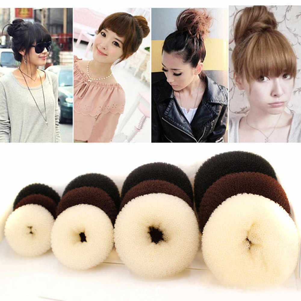 Women Hairband Hair Ties Hair Band Meatball Type 4 Sizes Hair Styling Ring Style Dispenser Buns Head Tool Hair Ring Hairband #40