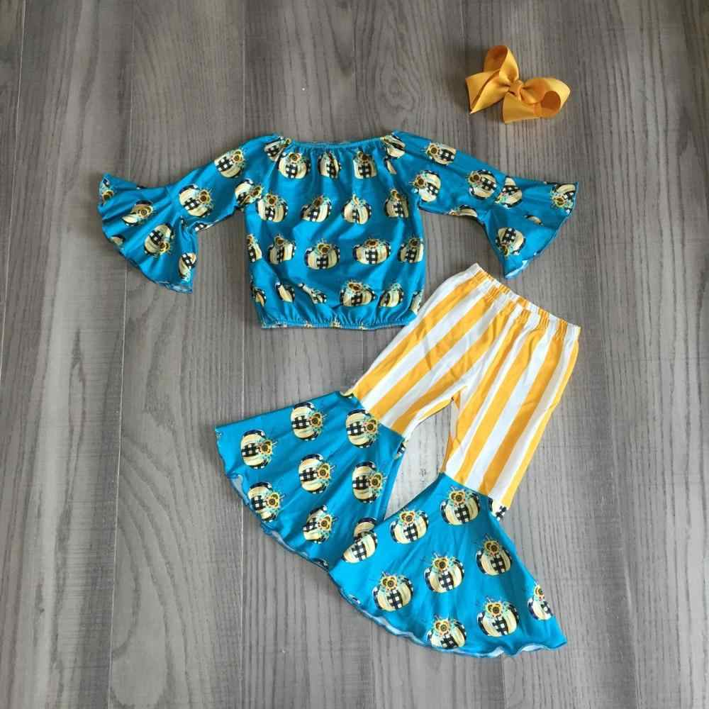 stripe bell bottoms Baby Outfit  Girl Outfit  bow set  baby bell bottoms