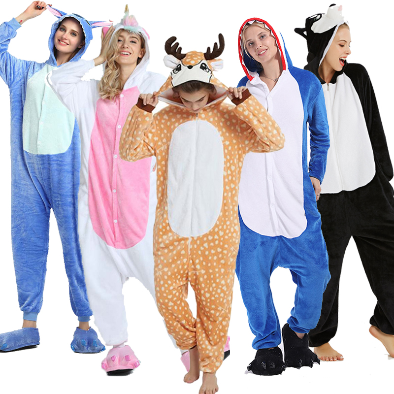 Kigurumi  Animal Pajamas Sets Onesie Women Pink Unicorn Winter Flannel Pajama Adult Nightie Stitch Unicornio Sleepwear Cosplay