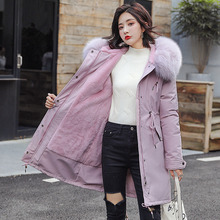 New Womens Parkes Coat Winter 2019 Fashion Faux Fox Fur Collar Hooded Mid-length Jacket Thicken Rabbit Lining Outerwear