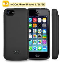 4000mAh Portable  External Battery Charger Case For iPhone 5 Battery Power bank Pack Charging Cover Case For iPhone 5S 5SE